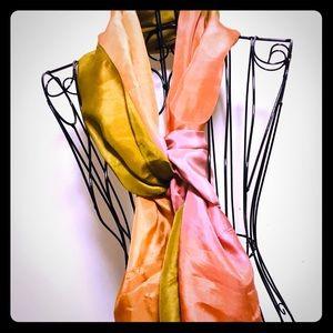 Chicos Handpainted silk scarf camel/peach color